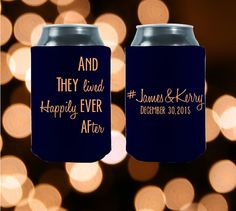 And They Lived Happily Ever After are the perfect party favors for your upcoming wedding! These koozies are fun, customizable and most importantly CHEAP! Customized And They Lived Happily Ever After  by StripedPeanut
