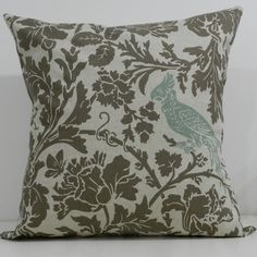 New 18x18 inch Designer Handmade Pillow Case. Warm grey floral, blue bird on linen color background.. $20.00, via Etsy.