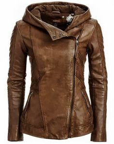 Hooded Leather Jacket what a brilliant idea!!! I just wish it was black. It would be more versatile.