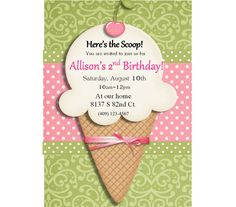 Ice Cream Invitation, Ice Cream Social, Ice Cream Birthday, Ice Cream Cone 1st, first, 2nd second, any age PRINTABLE DIY Digital