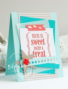 You're so Sweet, Cherry On Top DSP,Grid Cards, Mini Treat Bag Thinlits Dies, 2015-2017 In Color Blossom Accents - Inge Groot