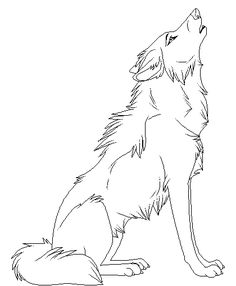 Cartoon Animal Howling Wolf Coloring Pages