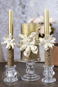 IVORY & GOLD Rustic Unity candles decorating with leather flowers, rope and… Christmas Candle Decorations, Christmas Candles, Wedding Decorations, Decor Wedding, Chic Wedding, Lace Wedding, Wedding Ideas, Wedding Unity Candles, Rustic Candles