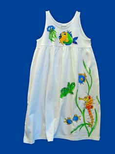 Seahorse Turtle and Fish Empire Dress for by DeborahWillardDesign