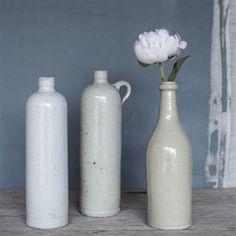 "vintage stoneware bottle : grey . 8"""