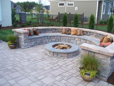 FAVORITE!!! Highland Wall Pamlico w. James River & Pamlico Copingstone. Heather this rocks for a fire pit!