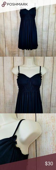 "Bebe dress Bebe cute ruffle trim dress. Size small, New with tags. 94% rayon, 4% spandex.  Measurements armpit to armpit 14"" length 25"" Bebe Dresses Mini"