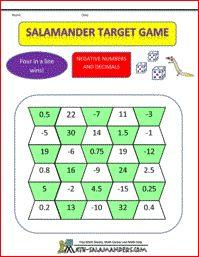 Salamander Target Game, math games fifth grade