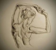 Croquis, dessin, dos de femme.
