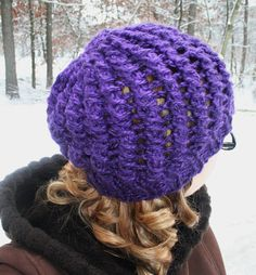 lacy slouchy knit purple hat by amandajane450 on Etsy (Accessories, Hats & Caps, slouchy, knit hat, purple, plum, lacey, warm, boho)