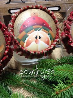 Plum Purdy Design by Reneè Mullins Pintura Country, Painted Ornaments, Santa Ornaments, Santa Paintings, Christmas Bulbs, Christmas Decorations, Holiday Crafts, Holiday Decor, Santa Face
