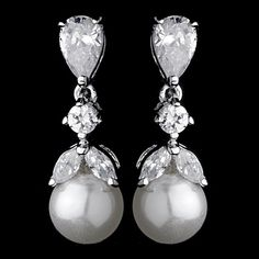 """Elegant dainty cubic zirconia bridal earrings with a lustrous faux pearl drop. Pearl measures 6mm. 0.875"""" (Length)"""