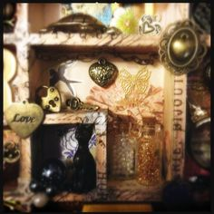 Configuration box, shadow box, altered art, miniatures, steam punk elements, close up