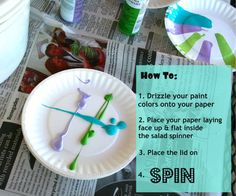 Salad spinner art! A fantastic twist on painting with kiddos #kids #paint #art