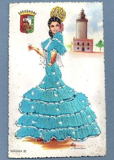 Vtg Postcard Spain Flamenco Lady Dancer Turquoise Dress Malaga Silk Embroidered