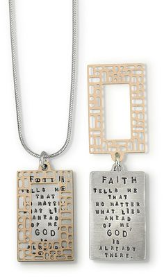 "May this sterling silver necklace designed and handcrafted by Kathy Bransfield, serve as a comforting reminder that God is always with us. Psalm 46:1-3 says ""God is our shelter and strength, always re"