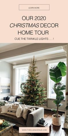 Classic Christmas Home Decor in Natural Colours | The Elgin Avenue Blog Eucalyptus Garland, Tree Lighting, Twinkle Lights, Time To Celebrate, Christmas Love, Christmas Tree Decorations, House Tours, Colours, Posts