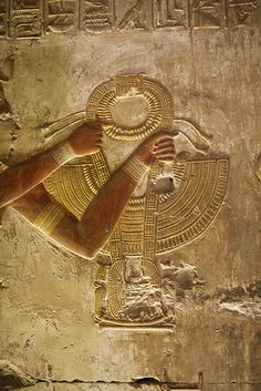 Temple of Seti I in Abydos. King presenting a Necklace