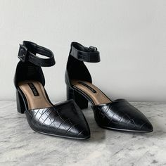 Meet LUNCHTIME your new go to heel featuring a croc print upper. Shoe Warehouse, Latest Shoe Trends, Lunch Time, You Bag, Crocs, Black Suede, Buy Now, Classic Style, Ankle Strap