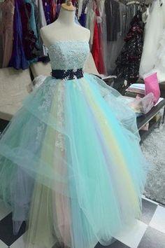 Colorful tulle lace A-line sweetheart sash applique long dress ,evening dresses