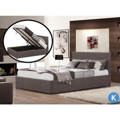 Fabric Bed Ottoman Option King Double Single Gas Lift 3 Colours In Home Furniture Diy Beds Mattresses