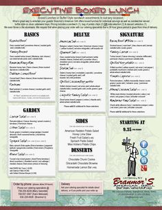 2012 Catering - Executive Box Lunch Menu | Branmor's American Grill
