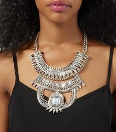 Silver Stone Chain Necklace