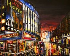 Colourful acrylic paintings by UK artist Ruth Burton, including tedding paintings and animal paintings. New London, London City, London Theatre, West End, Animal Paintings, London England, Paint Colors, Elephant, Horses