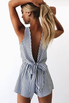 a4756360e342 Aproms Tied Up Back 2 Piece Set Jumpsuit Romper Summer Luxe Blue Striped  Backless Playsuits Women Sexy Cotton Blended Shorts