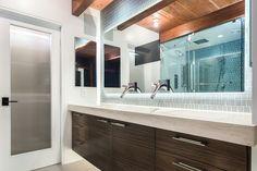 Mid-Century Modern Master Bathroom, Floating Vanity, Island Stone Wall Tile, Axor Stark Faucet