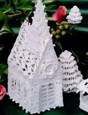 Thread Crochet Christmas Village Patterns Cottage Church Bandstand S54