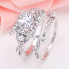 14K White Gold Over 2 CT Princess Cut Wedding Engagement Ring Wedding Solitaire #ElleDiamonds #WeddingBand #EngagementWeddingAnniversary