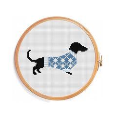Christmas dachshund cross stitch pattern door PatternsCrossStitch
