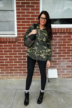 Camo, lipstick, studs and heels. Grungy fall outfit.  Outfit from www.theredclosetdiary.com