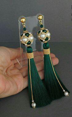 Silk thread jewellery. Green thread and pearl earring design