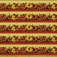 Pink/Brown/Gold Flowers on Yellow Ground Condition: Very Good Antique Wallpaper, Original Wallpaper, Borders For Paper, Floral Border, Gold Flowers, Wallpaper Roll, Pink Brown, Bohemian Rug, At Least