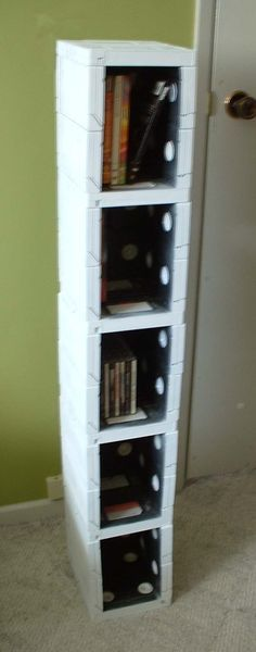 VHS tapes glued together with a glue gun and spray-painted white.