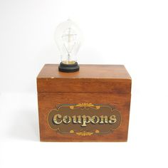 Vintage Coupons Box Lamp Kitchen With Exposed Edison Bulb by itsalamp