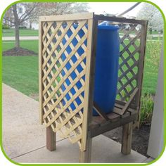 Hide your ugly blue barrel behind this beautiful Lattice Stand!