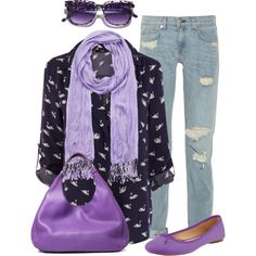 """""""Purple accessories"""" by jackaford-bittick on Polyvore - outfit idea: printed blouse and purple scarf"""