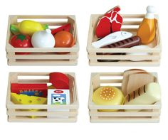 Buy Fun Factory - Food Box 4 in 1 at Mighty Ape Australia. This wooden play food set contains everything you need for market day fun. Includes four wooden crates with a themed focus – dairy, protein, carbohydr. Pretend Play Kitchen, Pretend Food, Wooden Basket, Wooden Crates, Wooden Play Food, Vegetable Crates, Meat Fruit, Play Food Set, Milk And Cheese