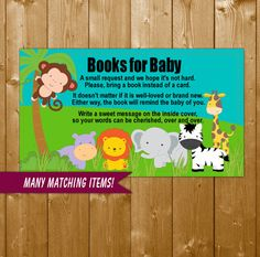 Safari Animals Baby Shower Book Request Insert Card, Safari Neutral Baby Shower, Invitation Insert Books for Baby, W004O Instant Download