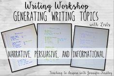 Generating Writing Topics Using Lists {Writing Workshop Ideas}
