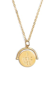 This anchored circular pendant is etched with a cryptic message that can only be read when the necklace is spun. Both personal and sentimental. A perfect gift for someone special.