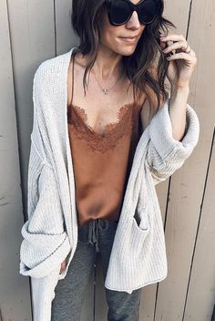 #winter #outfits  brown lace v-neck camisole with gray cardigan