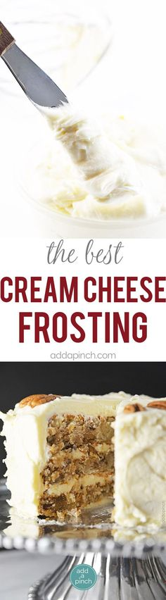 Cream Cheese Frosting makes the perfect frosting recipe for so many sweet treats. An easy, yet elegant cream cheese frosting recipe. // addapinch.com