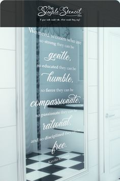 Easy to install decals that look painted on yet are removable! Highest Quality Materials, Made in the USA Satisfaction Guaranteed. If your walls (or mirrors) could talk, what would they say? This inspirational quote by Kavita Ramdas is a great reminder for girls of all ages to aspire to be their best selves everyday. Place somewhere you or a woman in your life will see it every morning to start the day with grace. #woman #womanquotes #vanity #homedecor #strongwoman #girl #girls #inspiration Vinyl Decor, Vinyl Wall Decals, Mirror Decal, Vanity Area, Strong Women Quotes, Gods Promises, Bathroom Wall Decor, Easy Home Decor, Wall Quotes