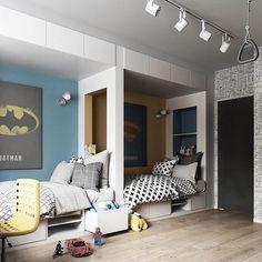 Super descolado esse quarto para dividir com o irmão, por Vae Design Group (www.inandoutdecor.com.br) #inandoutdecor @inandoutkids #vaedesigngroup #inandoutkids
