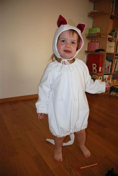 Halloween costume made from the Cozy Winter Hood and the Art Smock from Little things to Sew