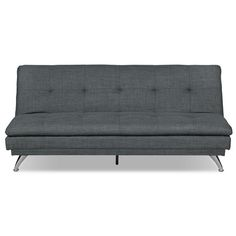Fashion and functionality come together in this June futon. Button-tufted seat and back cushions are packed with high-density foam – perfect for movie nights and friendly sleepovers. Built on a solid wood frame, this futon is wrapped in linen-like upholstery and supported by nickel-plated metal legs. And to prepare for overnight guests, use the built-in sliding mechanism to turn this comfortable seating space into a restful, full-size bed.